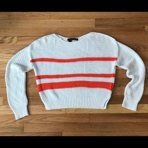 Cute cropped slouchy knit sweater with stripes